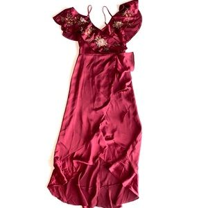 Lulumari Satin Flutter Sleeve Dress